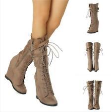 Hot Sale Women Winter Rivet Wedge Hidden Heel Mid Calf Boots Lace Up Suede Shoes