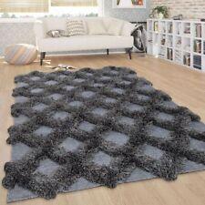 Moderner Hochflor Teppich Karo Muster Einfarbig Geometrisch Design Anthrazit