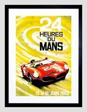 Motor de anuncios de deporte carrera Le Mans 24 horas Velocidad Coche Clásico Impresión Arte Enmarcado B12X7772