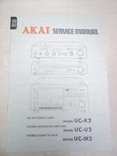 Akai Service/Repair Manual~UC-K2/U2/M2 Amplifier/Tuner/Cassette Deck~Original