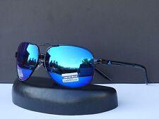 Arctic Blue Designer Mens Retro Metal Frame Classic Aviator Sunglasses +Soft Bag