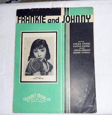 1935 Calumet Music Co. FRANKIE and JOHNNY Sheet Music w/guitar & ukelele chords