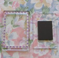 3x Blank Purple-Silver Gemstone Acrylic Magnets 81x55mm Frame & 70x45mm Photo