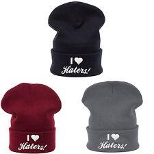 Winter Beanie Hat I Love Haters Men Women Knitted Woolly Oversize Slouch Cap