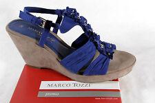 Marco Tozzi Sandalias De Dama, azul, Suave Suela Interior, Tacón De Cuña Nuevo