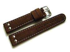 Uhrenarmband - Wasserbüffel - 2 Nieten - dunkelbraun - weiße Naht - 20,22,24 mm