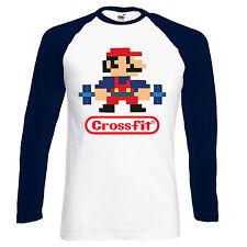 Crossfit Mario/Nintendo Parodia Camisa De Béisbol-S-XXL, Sht/gas natural licuado Manga, 4 Colores