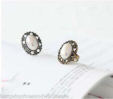 Vintage Retro Flower Carvel Pearl Oval Adjustable Ring Silver/Gold Burn