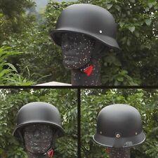 Retro Motorcycle Helmet Matte Black German Half Face Chopper Biker WWII Style