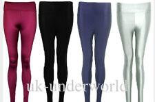 Mesdames filles shiny legging taille haute extensible disco danse pantalon adultes 6-14