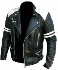 Men's Brando Classic Biker Black & White Vintage Motorcycle Real Leather Jacket