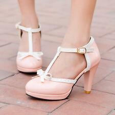 Women Lolita Cute Grils Bowtie T Strap Platform Marty Janes Buckle Shoes Size 11