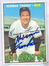 Herman Franks San Francisco Giants 1967 Topps #116 Autographed Baseball Card
