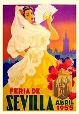 1950'S VINTAGE SPANISH SEVILLE SPRING FESTIVAL  A3 POSTER REPRINT