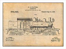 1909 Railroad Train Locomotive Engine Patent Print Art Drawing Poster18X24