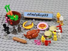 LEGO - 29 pcs Lot Picnic BBQ Bread Bread Hamburger Turkey Apple Minifigure Food