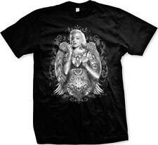 Marilyn Angel Wings Tattoo Face Signature Glamour Shot Mens T-shirt