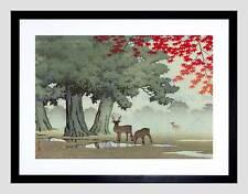 NATURE LANDSCAPE TREE DEER JAPAN KAWASE HASUI BLACK FRAMED ART PRINT B12X4080