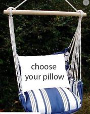 MAGNOLIA CASUAL HAMMOCK SWING SET - MARINA BLUE/WHITE STRIPE Choose Your Pillow