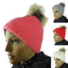Bonnet tricoté de fourrure FEMMES CHAPEAUX D' HIVER BEANIE POMPON K647