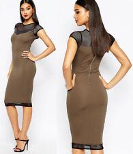 River Island NEW Khaki Bodycon Mesh Detail Midi Dress Sizes 6 to 16