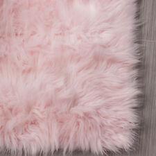 Faux Sheepskin Rug Soft Pink Fur Shag for Nursery Kids Room Rug Furry Rug