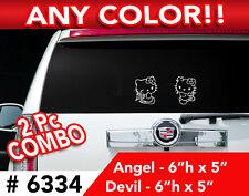 "2PCs HELLO KITTY DEVIL & ANGEL DECAL STICKER 6""h x5""w"