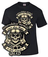 Biker T-Shirt Spruch QUAD Motorrad UNTERSCHÄTZE NIEMALS EINEN ALTEN MANN Skull