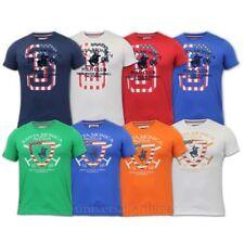 T-shirt pour hommes Santa Monica Polo Club drapeau américain coton col rond