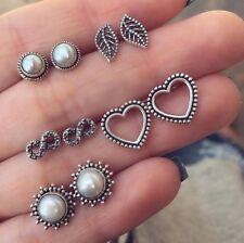 5 Pairs Boho Vintage Heart Pearl Leaf Ear Studs Earrings Women Girl Jewelry Set
