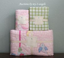 Pottery Barn Kids Zoey Bird Twin Quilt+Sham+Cottage Gingham Sheet Set PINK/GIRLS