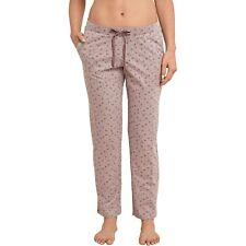 SCHIESSER Damen Hose Schlafhose Jerseyhose lang Taschen Baumwolle braun-melange