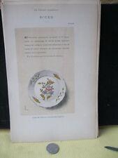 Vintage Print,ROUEN 10,Faience,1872,French,Litho