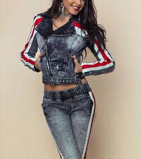 BY ALINA 2-Teiler Jeans Damen Hose Jeansjacke Röhrenjeans 34 - 38 #B513