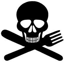 Sticker Décoration Tete de mort Cuisine Couteau Fourchette (15x15 cm à 30x30 cm)