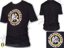 T-Shirt Rasta Roots Reggae Jah Live Lion Of Judah One Love Jah Star Noir