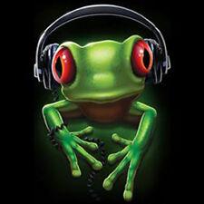 Frog Rock Wearing Headphones Music Party Funny T-Shirt Tee