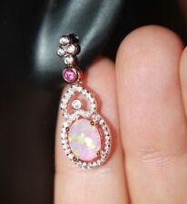 fire opal Cz earrings gemstone rose gold filled jewelry cocktail stud drop H6