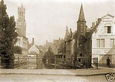 Tirage photo ancienne -  XIXe Ville de Bruges Brugge et ses Canaux