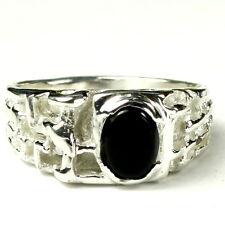 Black Onyx Ring, Men's 925 Sterling Silver Nugget Ring, Handmade, New #SR197