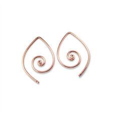 "Blossom Teardrop Hoop Earring Thin Small 1"" Spiral"