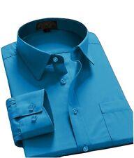 Men's Regular Fit Long Sleeve Solid Color One Pocket Casual Dress Shirt Teal