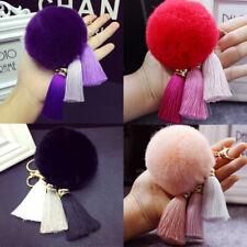 Women's Tassel Cute Rabbit Fur Fuzzy Ball Pompom Keychain Bag Big Charm Key Ring
