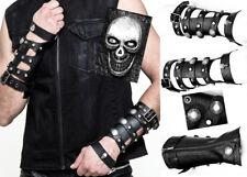 Manchettes gants cuir gothique punk fetish sangle zip tête de mort Punkrave Homm