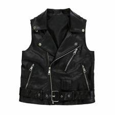 Women's Faux Leather Black Waistcoat Gilet Biker Sleeveless Jacket Vintage Top