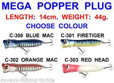 LARGE 14cm MEGA POPPER PLUG SEA GAME COARSE PIKE FISHING SPINNING BASS ROD LURES