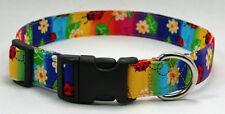 Lady Bug & Daisy on Rainbow Stripe Dog Collar Adjustable Handmade Custom