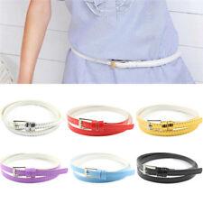 Women Laies Fashion Narrow Skinny Thin Patent Leather Buckle Waist Belt Gn