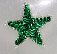 Outlined green Star Sequin Applique Shinny Bright Pressure Sensitive glue