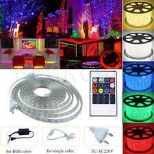 1M-20M 5050 RGB Waterproof IP67 LED Strip Rope + EU Power (Remote) AC 220V 240V